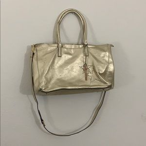 Giorgio Milani gold genuine leather tote bag